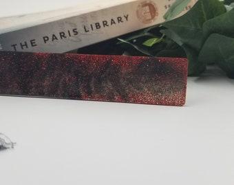Red & Black Sparkle Resin Bookmark