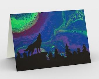 Northern Howl Blank Card. Art Card. Gift for Her. Gift for Him. Original Artwork. Wolf. Northern Lights. Aurora