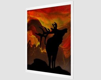 Wild Sunset Art Print.  Wall Art.  Wall Décor.  Wall Decoration. Elk. Sunset. Forest. Wildlife