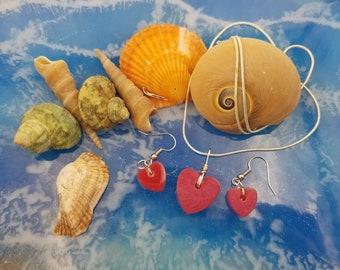 Pink Heart 3pc Jewelry Set