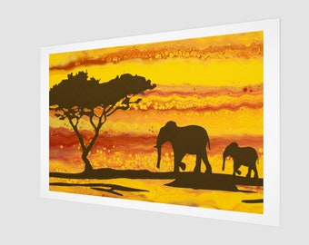 The Walk. Art Print.  Wall Art.  Wall Décor.  Wall Decoration. Safari. Elephants. Sunset. Africa