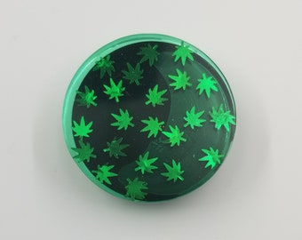 Green Weed Leaf. Black Base Resin holder/stand, Custom Grip, Gift for Her, Gift For Friend, Gift for Him, Multimedia Holder