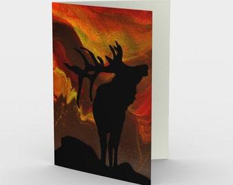 Wild Sunset Blank Card. Art Card. Gift for Her. Gift for Him. Original Artwork. Elk