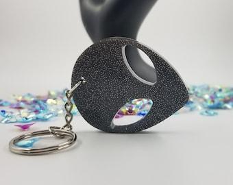 Dark Grey Alien Keychain