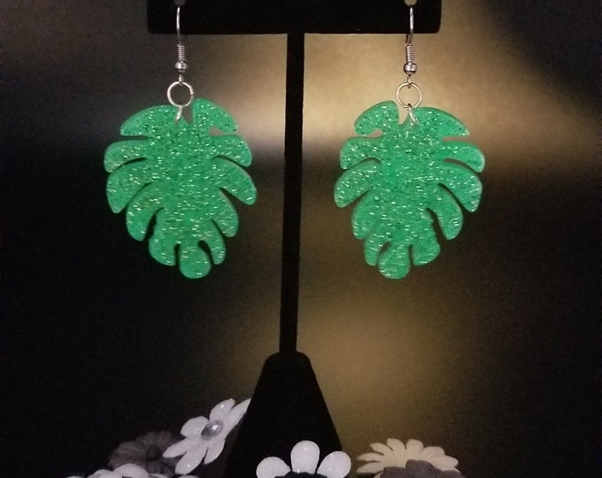 Featured listing image: Unique Glow in the Dark Resin Leaf Dangle Earrings