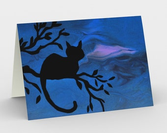 Night Watch Blank Card. Art Card. Gift for Her. Gift for Him. Original Artwork. Cat.