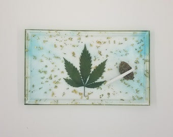 REAL Weed Leaf encased in Resin.  Rolling Tray. Serving Tray. 420. Bud. Weed. Ship in Canada Only.  Cannabis