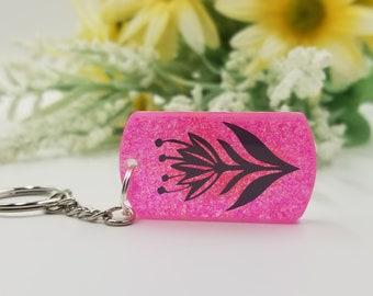 Pink Sparkle Flower Keychain. Gift for Her. Gift for Him. Gift for Teacher.