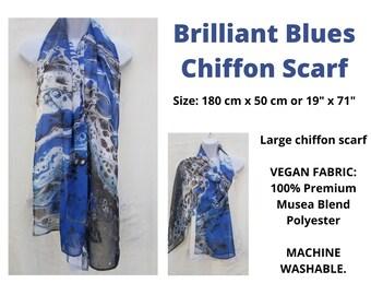 Brilliant Blues Chiffon Scarf