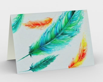 Fun Feather Blank Card. Art Card. Gift for Her. Gift for Him. Original Artwork. Bright