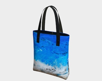 Ocean Tote. Book Bag. Gift for Book Lovers. Gift for Her. Gift for Him.  Art. Vegan Leather or Cotton. Beach. Waves