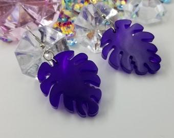 Unique Deep Purple Resin Leaf Dangle Earrings