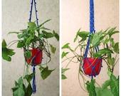 Blue plant hanger Hanging plant pot Macrame plant holder with pot Plant hanger for window Macrame plant holder Fairy Garden Gift Idea.