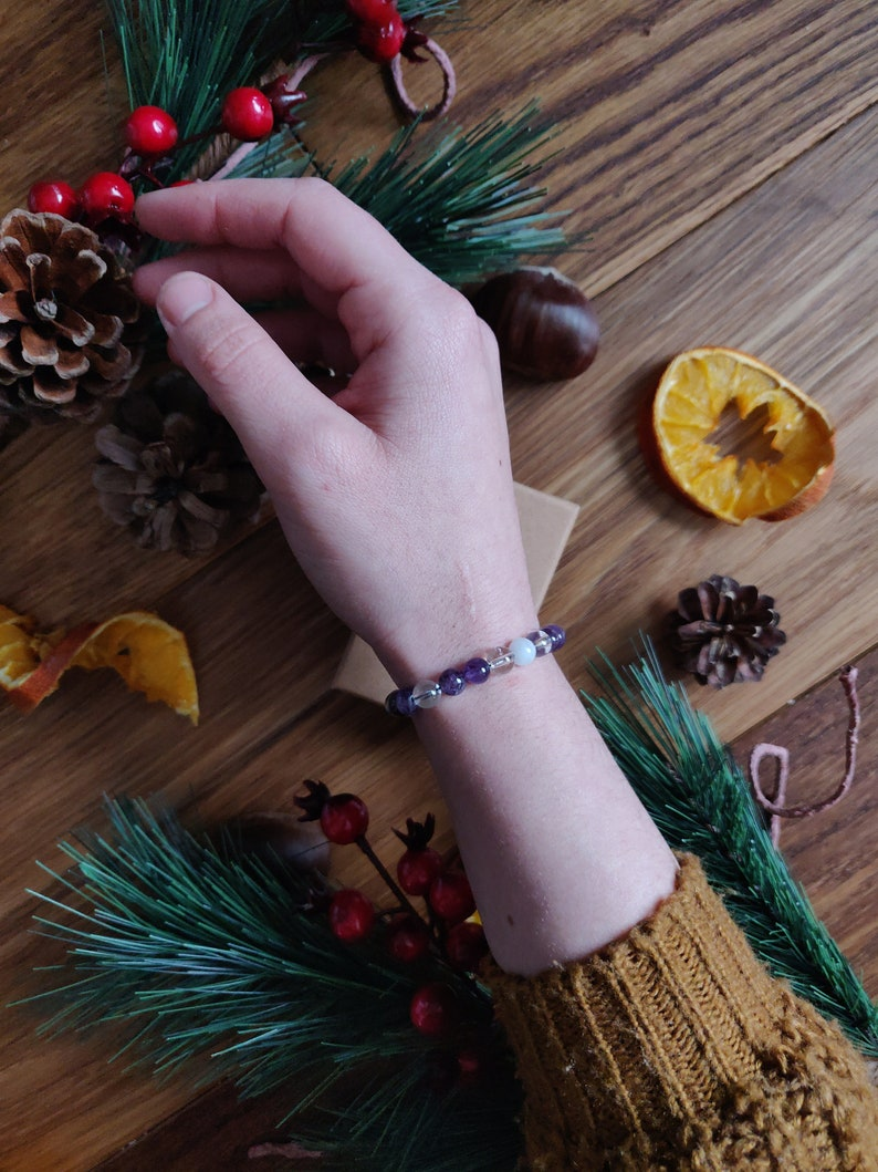 Moonstone Amethyst bracelet Rock Crystal