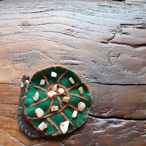 raw amethyst Crystal cluster snail shell handmade shawl pin wood seashell