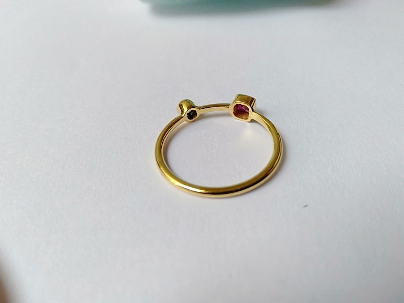 Dainty Ring Sterling Silver 925 Natural Ruby /& Blue Sapphire Minimalist Ring Tiny Ring