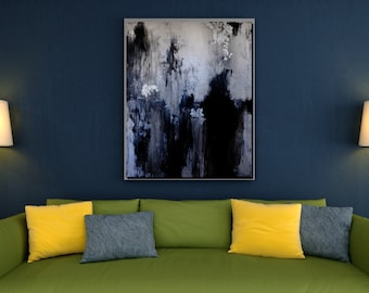 Large Abstract Oil Painting Oversize Painting Black And White Abstract Painting Black Painting White Painting Gray Painting Wall Art Canvas