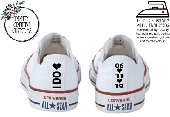 Wedding Converse heel tags with hearts, iron on transfer stickers, Bridal trainers, comfy wedding shoes, Bride, vans, Toms, Dancing shoes