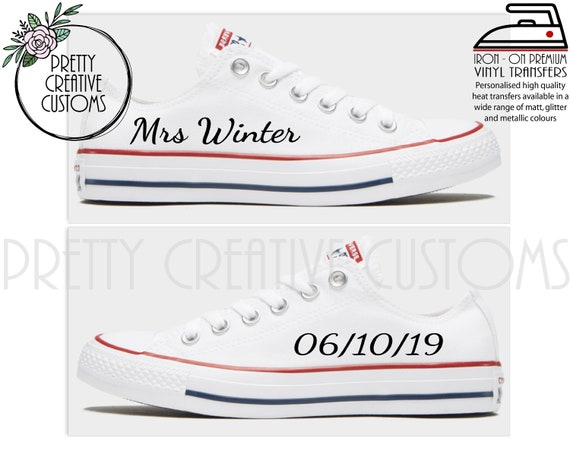 Personalised custom converse pumps DIY heat transfer decal.bride heel tags and side names.wedding.bling converse. evening pumps. htv. bridal