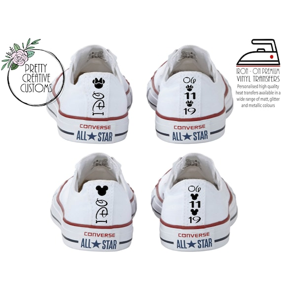 Disney Wedding Converse heel tags, iron on transfer stickers, Bridal trainers, comfy wedding shoes, Bride, vans, Toms, Dancing shoes