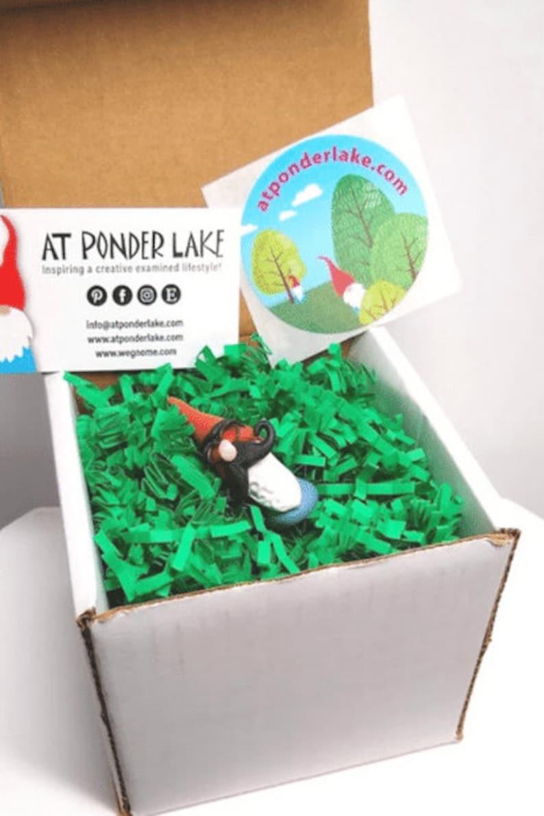Handmade clay gnome figurine with funny curly mustache miniature garden gnome handmade gnome