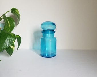 Vintage Blue Glass Apothecary Jar | Modern Boho | Vintage Blue Spell Jar