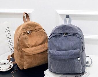 Corduroy Backpack, Handmade Bag, Small Bag, Girl Bag, Modern Bag, Women's Backpack,Fashion Students Lantern School Bags