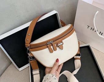Leather Belt Bag,Woman Fanny Pack, Leather Fanny Pack, Minimalist Vegan Leather Belt Bag, Belt Pouch Wallet, Woman Purse, Black Handbag
