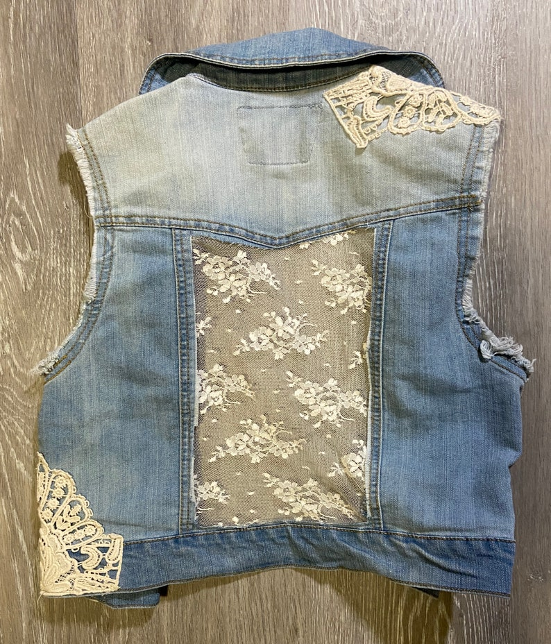 Small Upcycled Lace Denim Vest V01