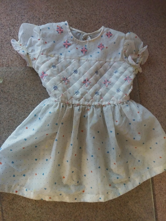 Vintage Sears Kids Blue Floral Flower Dress Top Size 6X Retro Toddler Baby Outfit Clothing Clothes Summer Dress