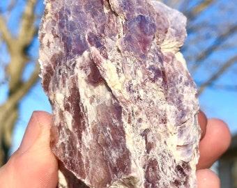 Raw Layered Lepidolite   Pink Mica   Shimmery Natural Lepidolite Specimen   Rough Natural Layered Lilac Lepidolite 92.1 MM Long & 168 Grams