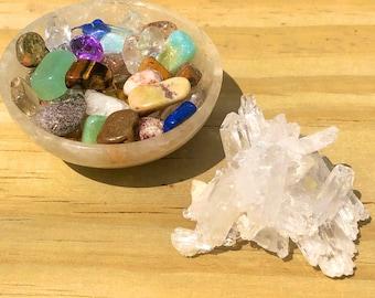 Golden Healer Quartz Carved Bowl Full Of Semiprecious Stones & Faden Quartz Cluster Combo   Golden Hematoid Quartz Bowl And Tabby Quartz  