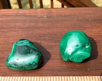 Genuine Malachite Nodule & Polished Palm Stone   Malachite High Quality 2 Piece Combo   2 Malachite Pieces 180 Grams   Malachite Nodule  
