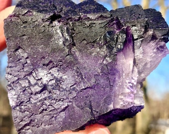 Deep Purple Cubic Fluorite From Mexico   Violet Colored Cubic Fluorite   Purple Mexican Fluorite 83.4 MM Long & 282 Grams   Purple Crystals