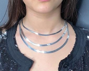 Necklace, choker 925 rhodium silver # 12,5gr / 9,64 gr / 6,64 gr, Mesh * MIRROR *