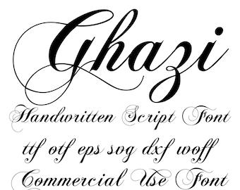 Ghazi-Handwritten Script Font otf svg eps svg dxf woff cricut font font svg font font download handwritten font silhouette fonts