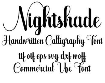 Nightshade-Handwritten Calligraphy Font otf svg eps svg dxf woff cricut font font svg font font download handwritten font silhouette fonts