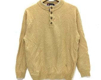 7c549246 Vintage CHAPS RALPH LAUREN Crest Logo Yellow Henley Sweater Sweatshirt  Jumper Pullover Country Sportsman Stadium Olympic