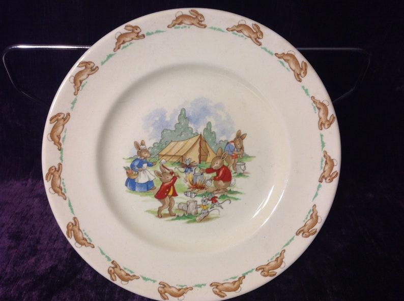 Royal Doulton DessertPie Plate Bunnykins Series- Camp Site