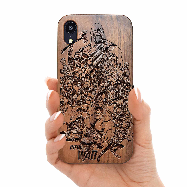 Marvel avengers iPhone 12 Wood Case Walnut iPhone Xs Wooden Case Wood iPhone Cover iPhone 11 pro max Cover phone case for iPhone 6s/7/8/plus