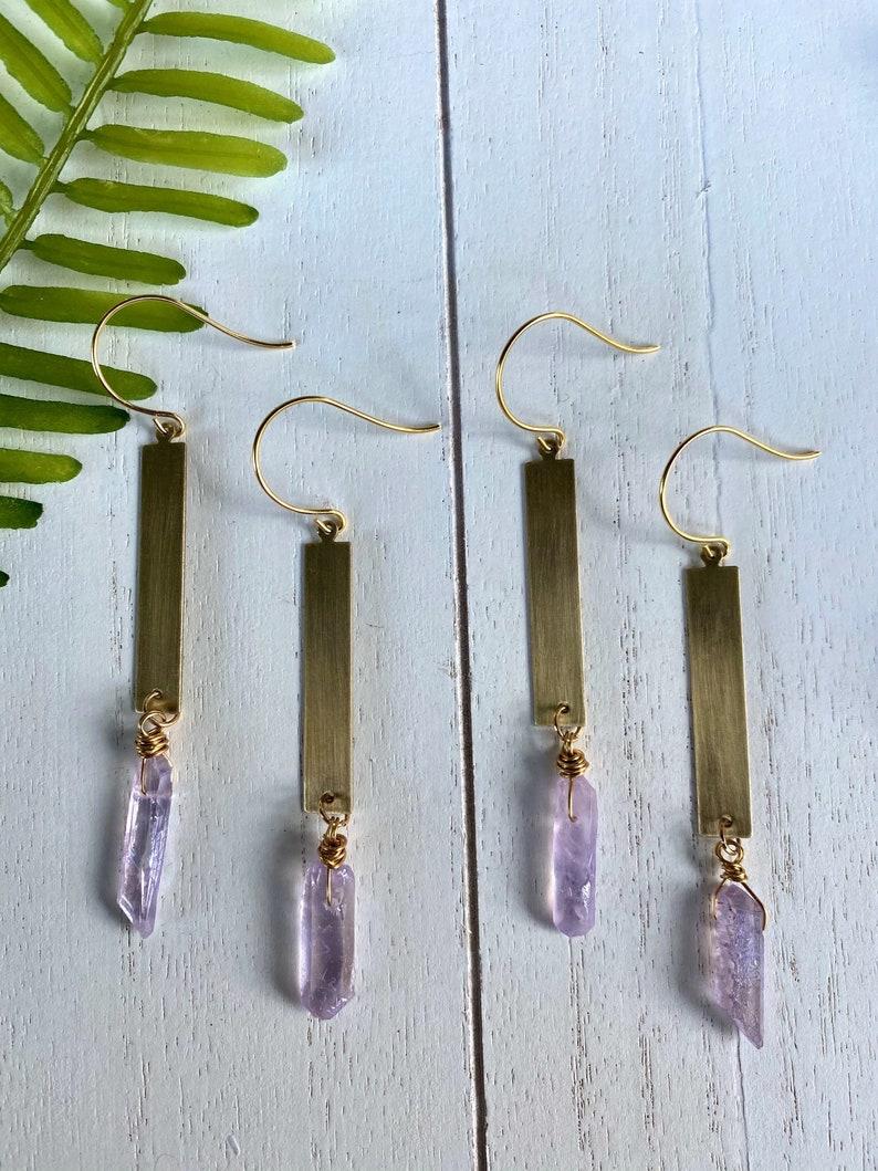 Geometric Earrings Skinny Gold DangleS Gold Rectangle Dangle Earrings Boho Dangles Lavender Quartz Earrings Gold and Purple Earrings