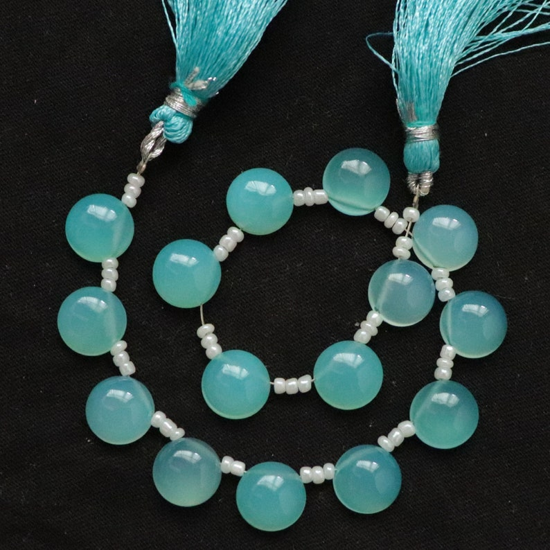 Paraiba Chalcedony 10x10MM Round Beads 3 Matched Pair Smooth Round Shape Cabochon Smooth Superb Item at Low Price Paraiba Chalcedony