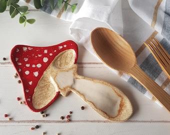 Amanita muscaria mushroom spoon rest Ceramic utensil holder Mushroom lover gift