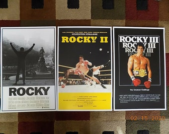 """11/"""" x 17/"""" Set of 3 Rocky Movie Collector/'s Poster Prints"""