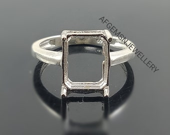 8X10 MM Oval Semi Mount Ring-Without Stone Ring-Promise Ring-Unisex Ring-925 Sterling Silver Ring-Oval Ring-Bezel Setting Ring