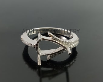 Semi Mount Beautiful Trillion Shape 7.5 MM Ring 925 Silver Engagement Jewelry