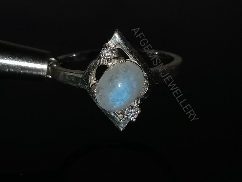 Blue Fire Moonstone Ring-Natural Rainbow Moonstone Ring-Handmade Silver Ring-925 Sterling Silver-Gift for her-Promise Ring-Wedding Ring
