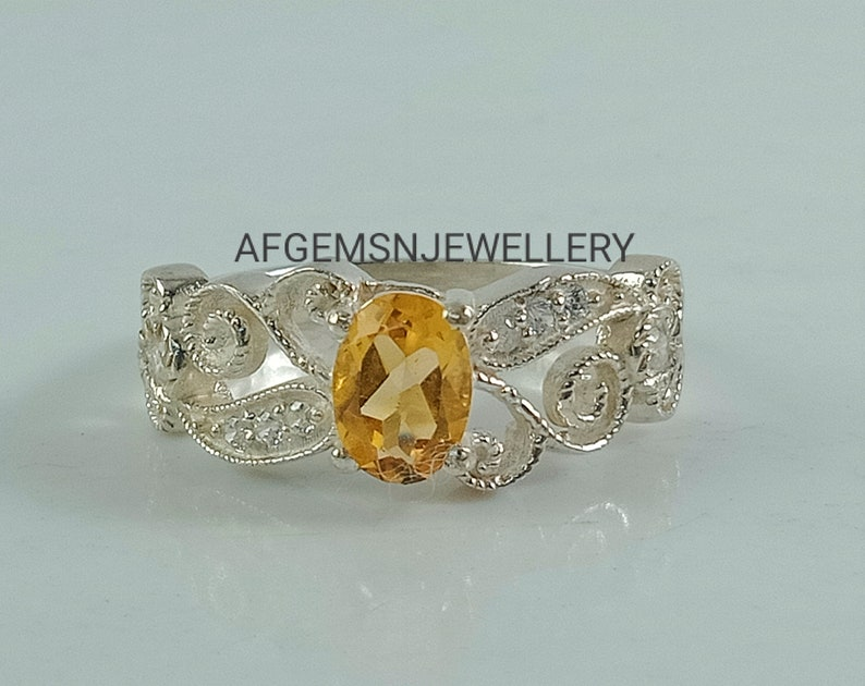 Unique Yellow Topaz Ring-925 Silver Ring-Golden Topaz Jewelry-Vintage Ring-Gift Ring-Women Ring-Yellow Golden Topaz-Birthstone Topaz Ring