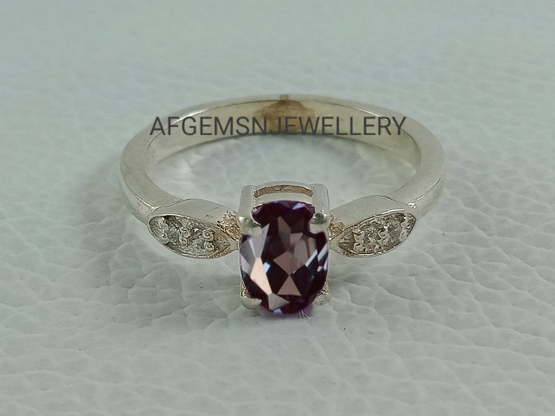 Women Alexandrite Ring-Oval Cut-Color Changing Gemstone Ring-Sterling Silver Ring-June Birthstone Ring