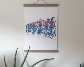 Cicle Race Rutland Gift Print with Oak Poster Hangers